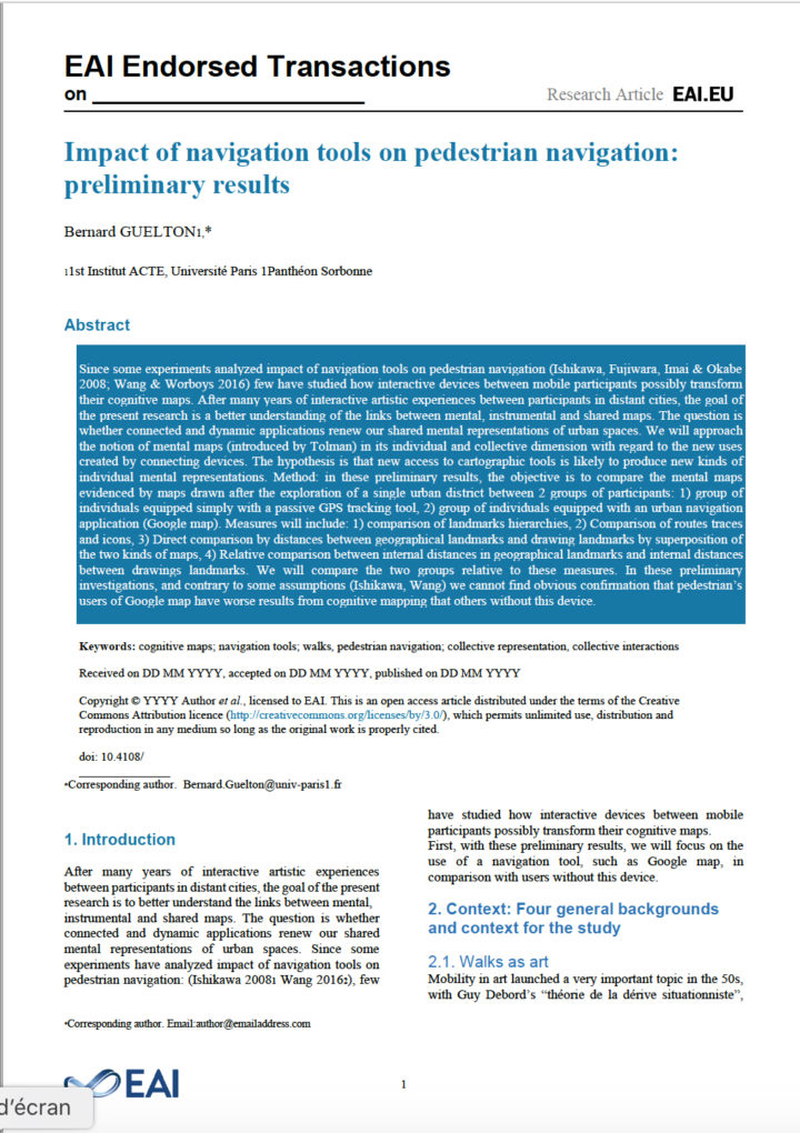 Impact of navigation tools on pedestrian navigation: preliminary results